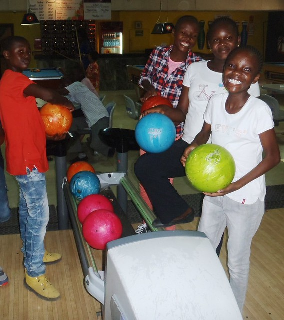 Some of our older children enjoying the bowling