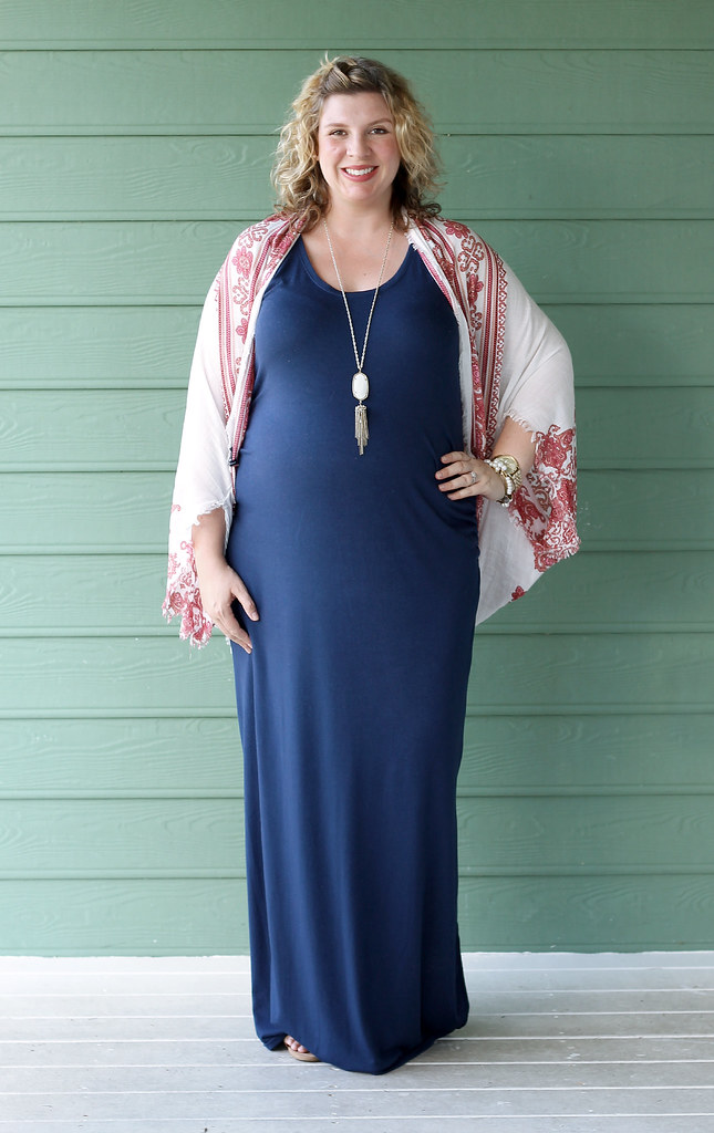 maternity blue maxi dress, white red kimono 5
