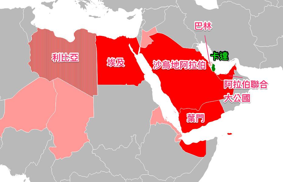 與卡達斷交的國家示意圖。(圖片來源:維基百科;後加上中文)