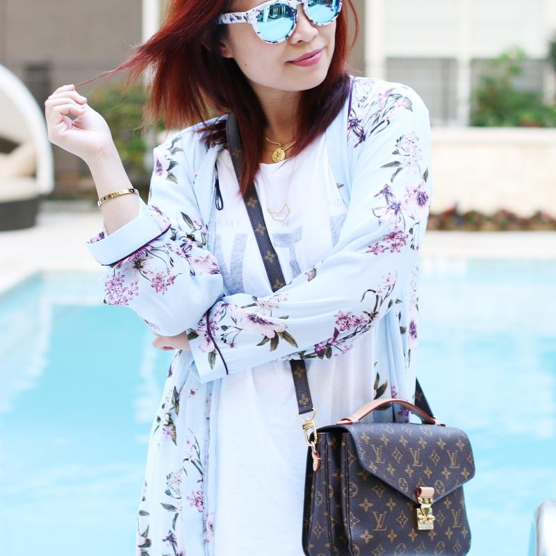 thursday white wildfox tee floral kimono louis vuitton bag