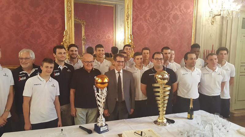 Virtus in serie A festeggiata in comune a Bologna