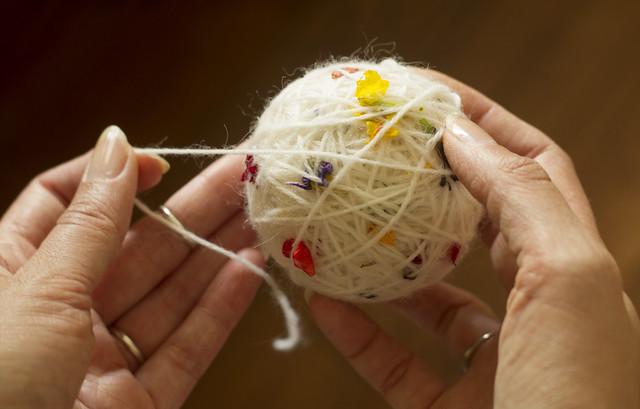 petals and yarn