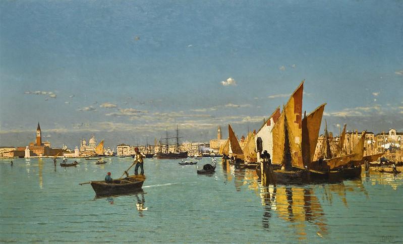 Guglielmo Ciardi - Italian a View of St Marks Basin with the Punta della Dogana