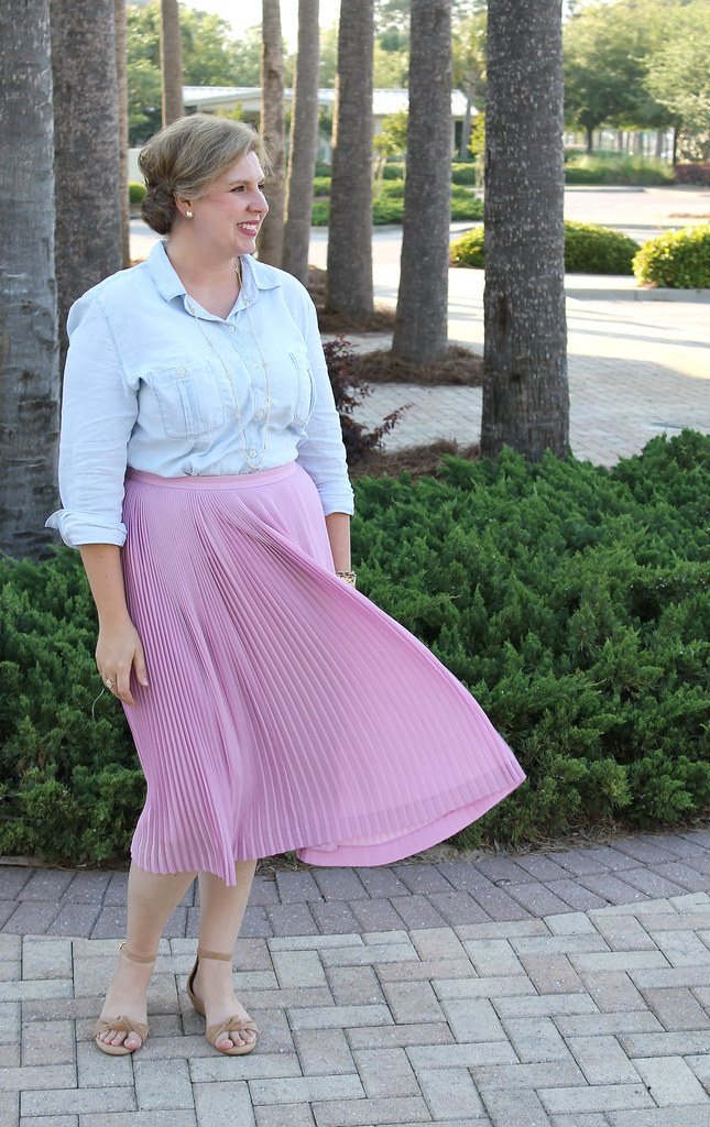 pink pleated midi and a chambray shirt 7