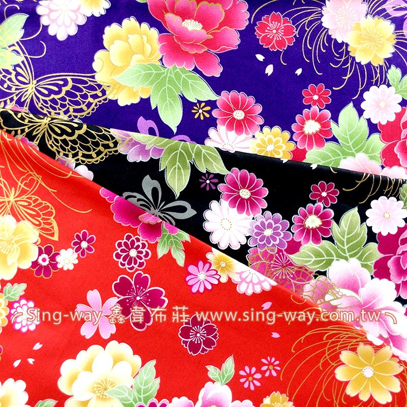 牡丹金蔥蝴蝶 復古 日式和風燙金花卉 精梳棉床品床單布料 節慶佈置 紅包袋 CA490299