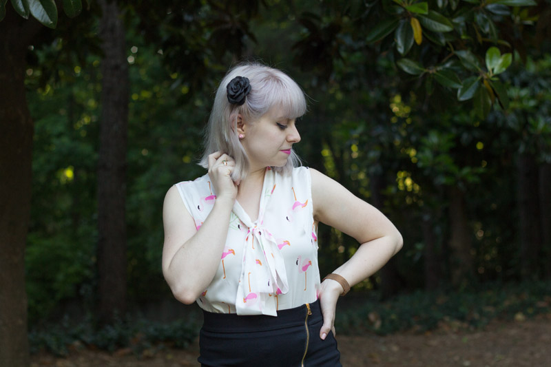 Gray Blonde Hair with a Sleeveless Bow Neck Flamingo Print Shirt