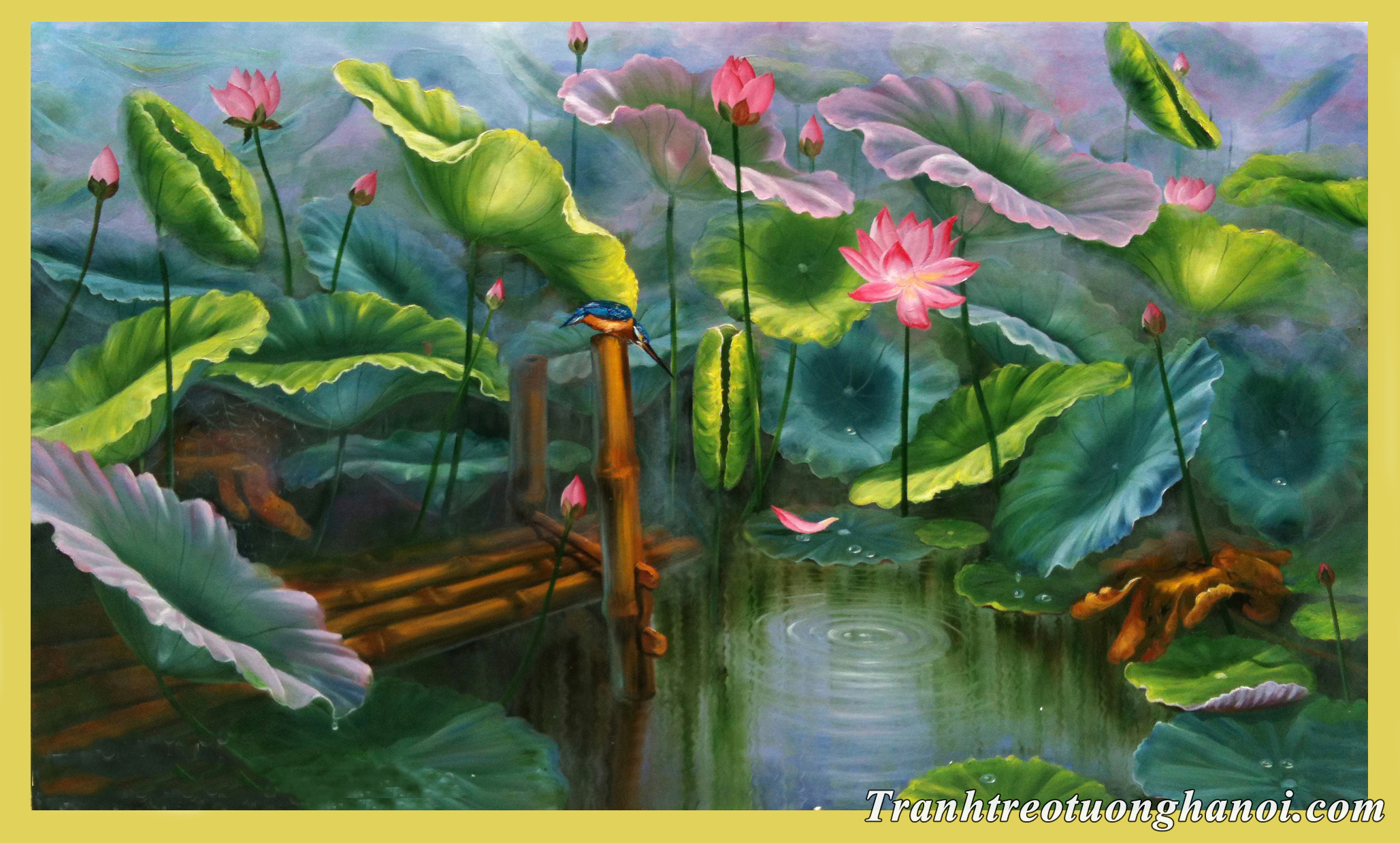 Buc tranh ve hoa sen ao lang voi chu chim boi ca