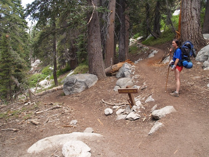 We leave the Pacific Crest Trail at the Fuller Ridge junction and continue uphill on the Deer Springs Trail