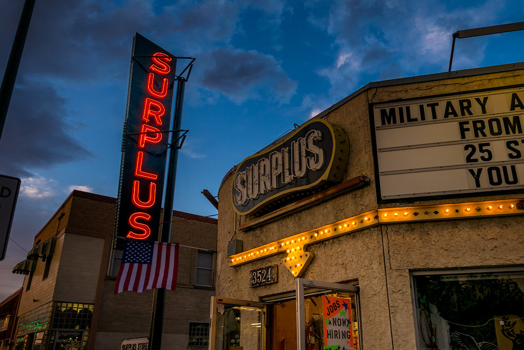 Neon: Army Surplus, South Broadway, Englewood CO