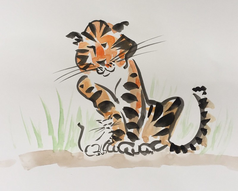 tijger schets tiger ink
