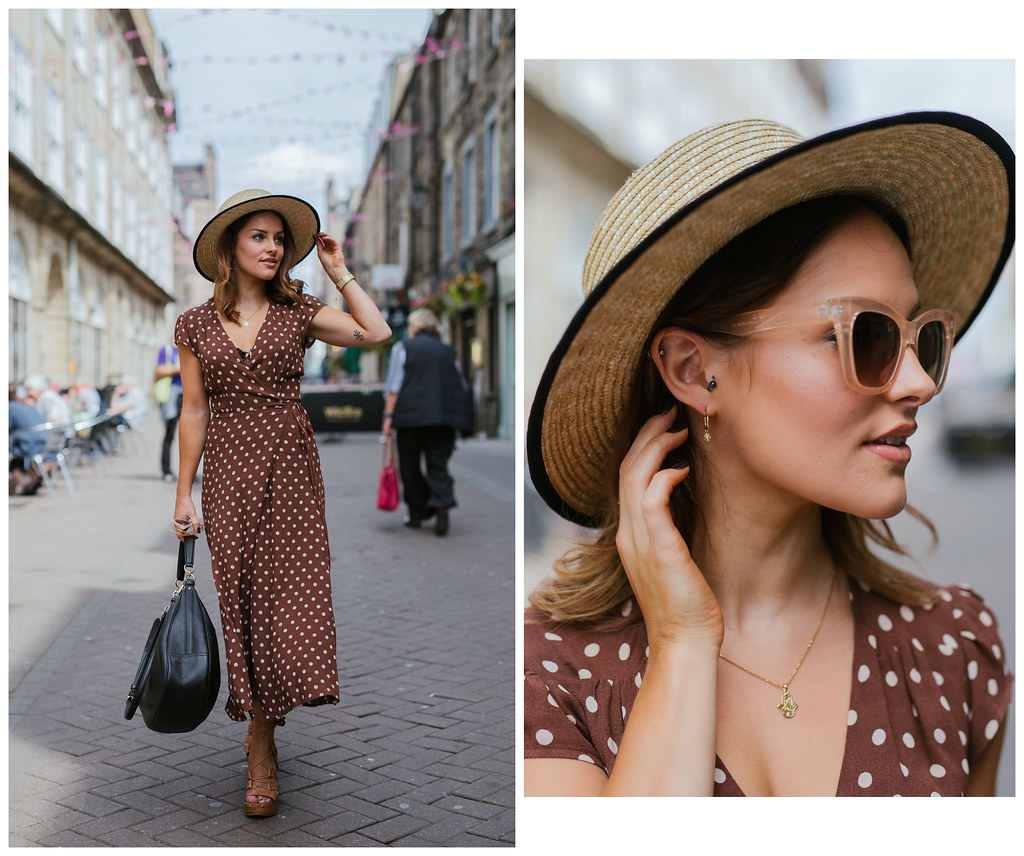 The Little Magpie Reformation brown polka dot midi dress