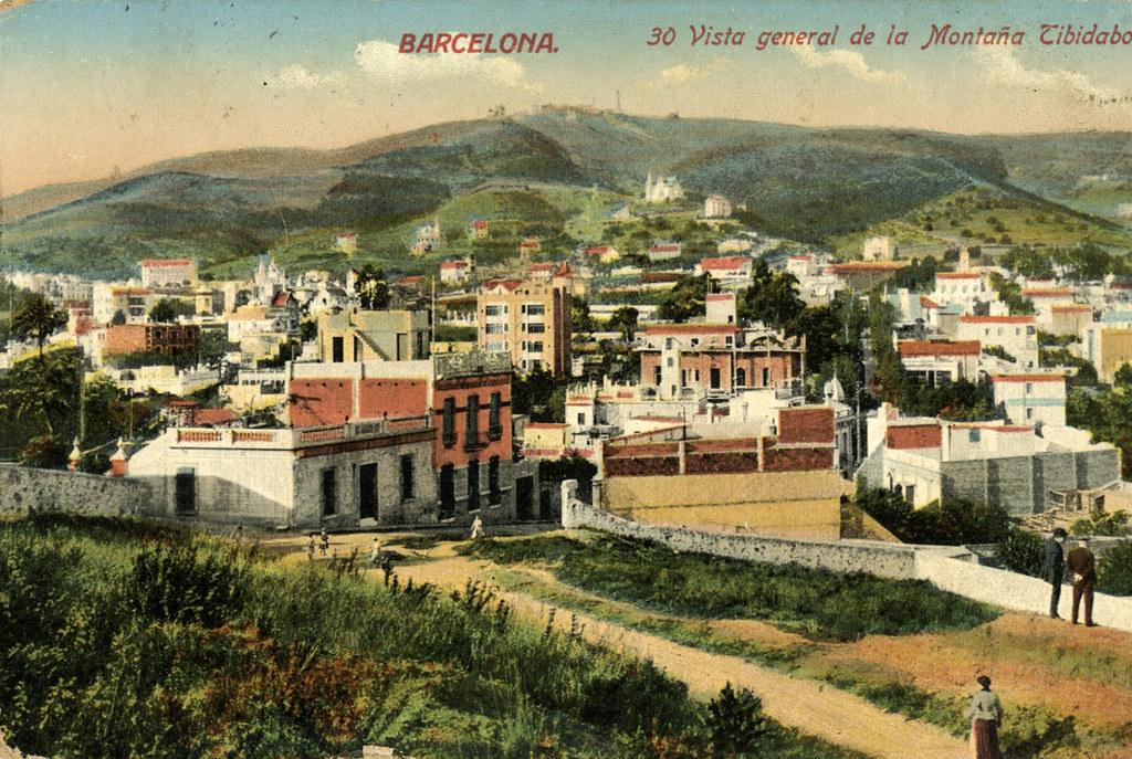 Ancienne carte postale de la colline Tibidabo à Barcelone.