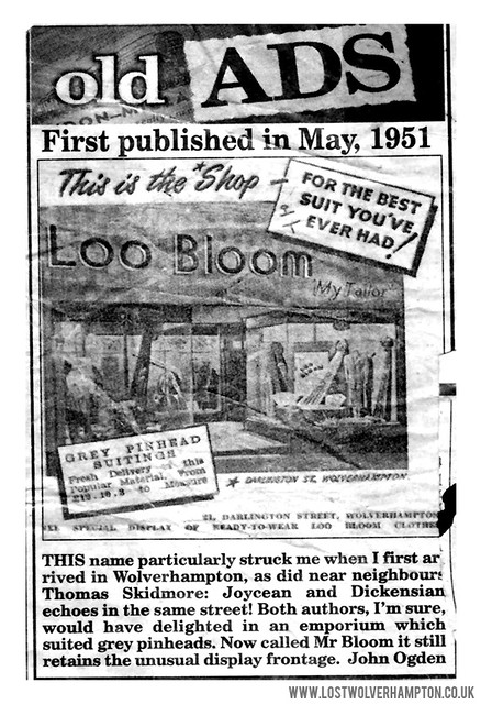 An old advert for Blooms Menswear that was reprinted in an Express & Star article.