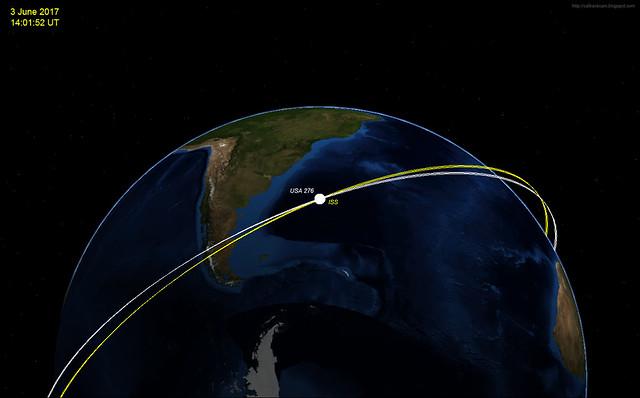 Un satélite espía maniobra alrededor de la ISS