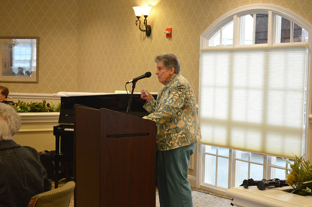 GenMtgMayLunch2017_0016; Treasurer Nancy Lifland gives treasurer's report.