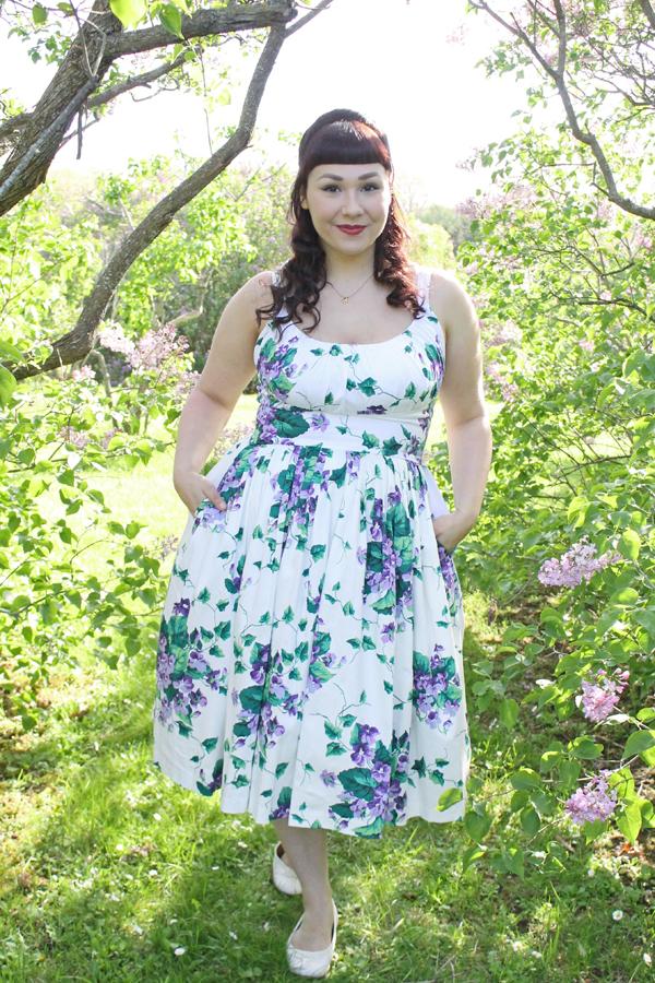 violet flower print dress