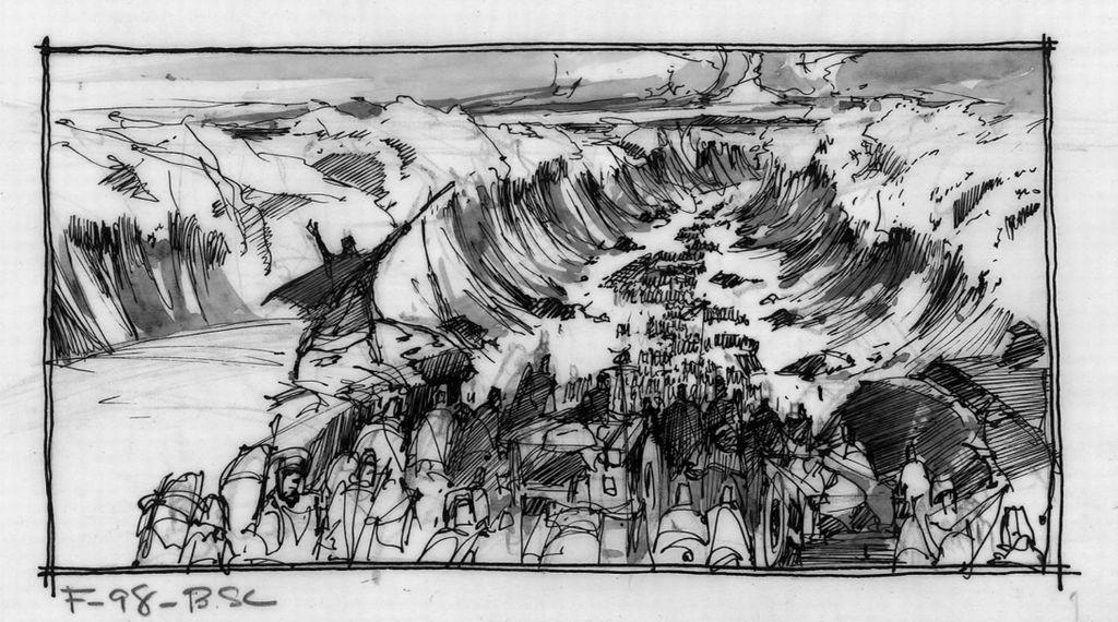 映画「十戒」の絵コンテ