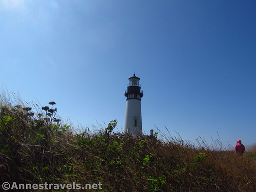 Walking toward the Yaquina Head Lighthouse near Newport, Oregon