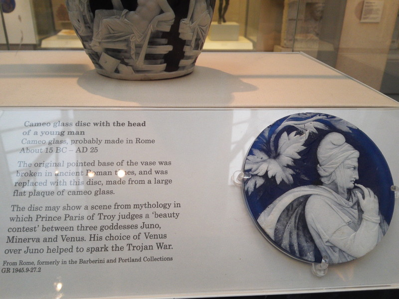Cameo glass disc with the head of a young man