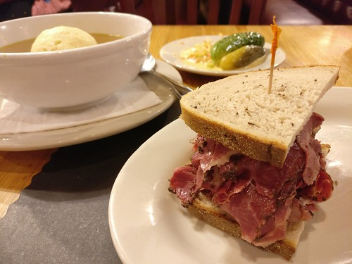 Pastrami Sandwich and Matzo Ball Soup
