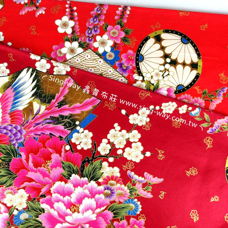 鳳凰花開 復古懷舊花卉 客家花布 台灣花布 精梳棉床品床單布料 節慶佈置 紅包袋 CA490230