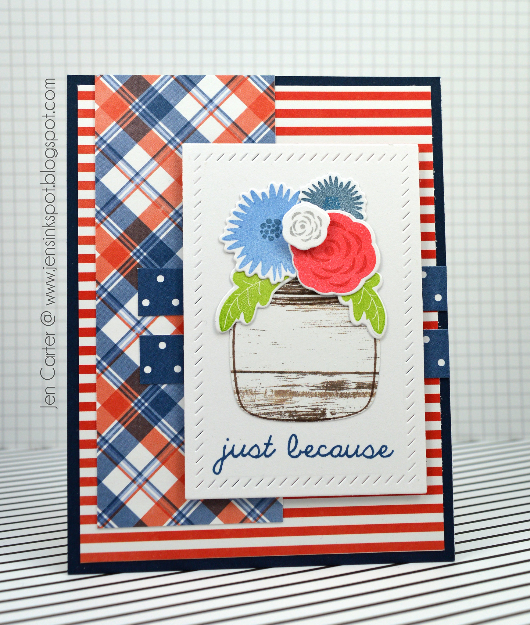 Jen Carter Mason Jar Flowers Patriotic 1