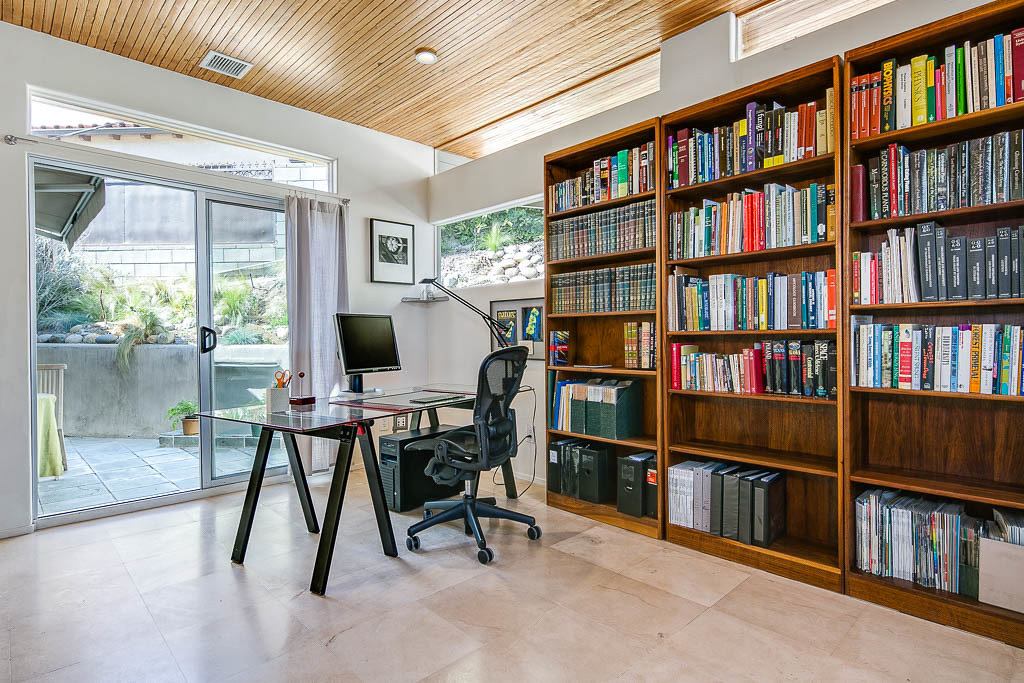 Home Office With Recycled Wood Ceiling