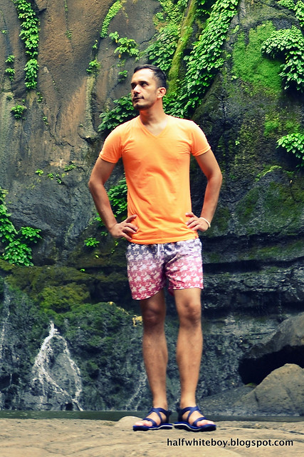 halfwhiteboy - orange t-shirt and ombre swim shorts 06