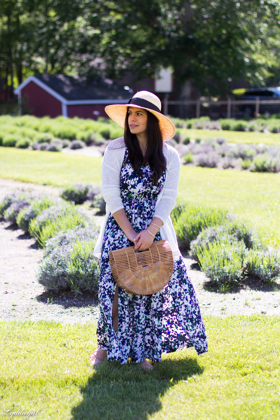 floral maxi dress, bamboo bag, straw hat, white cardigan-2.jpg