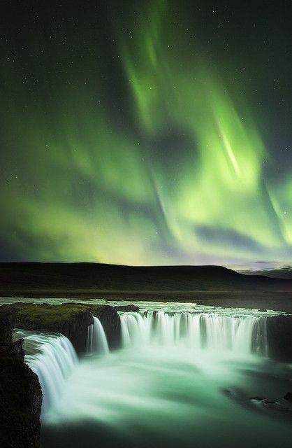 #adventure ,  🌍 Northern Lights over Goðafoss, Iceland