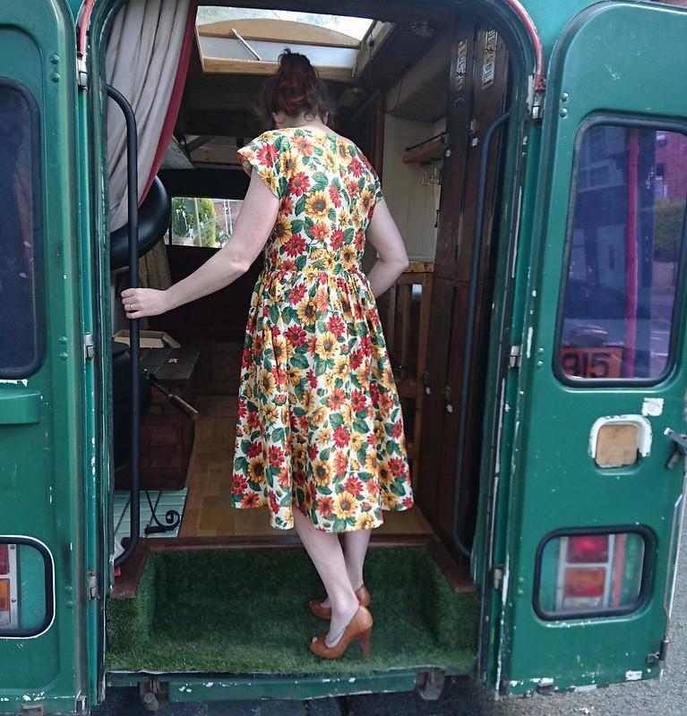 by hand london anna dress gathered skirt sunflower fabric
