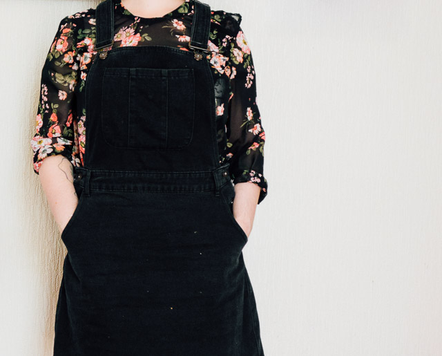 dungaree dress and sheer floral top