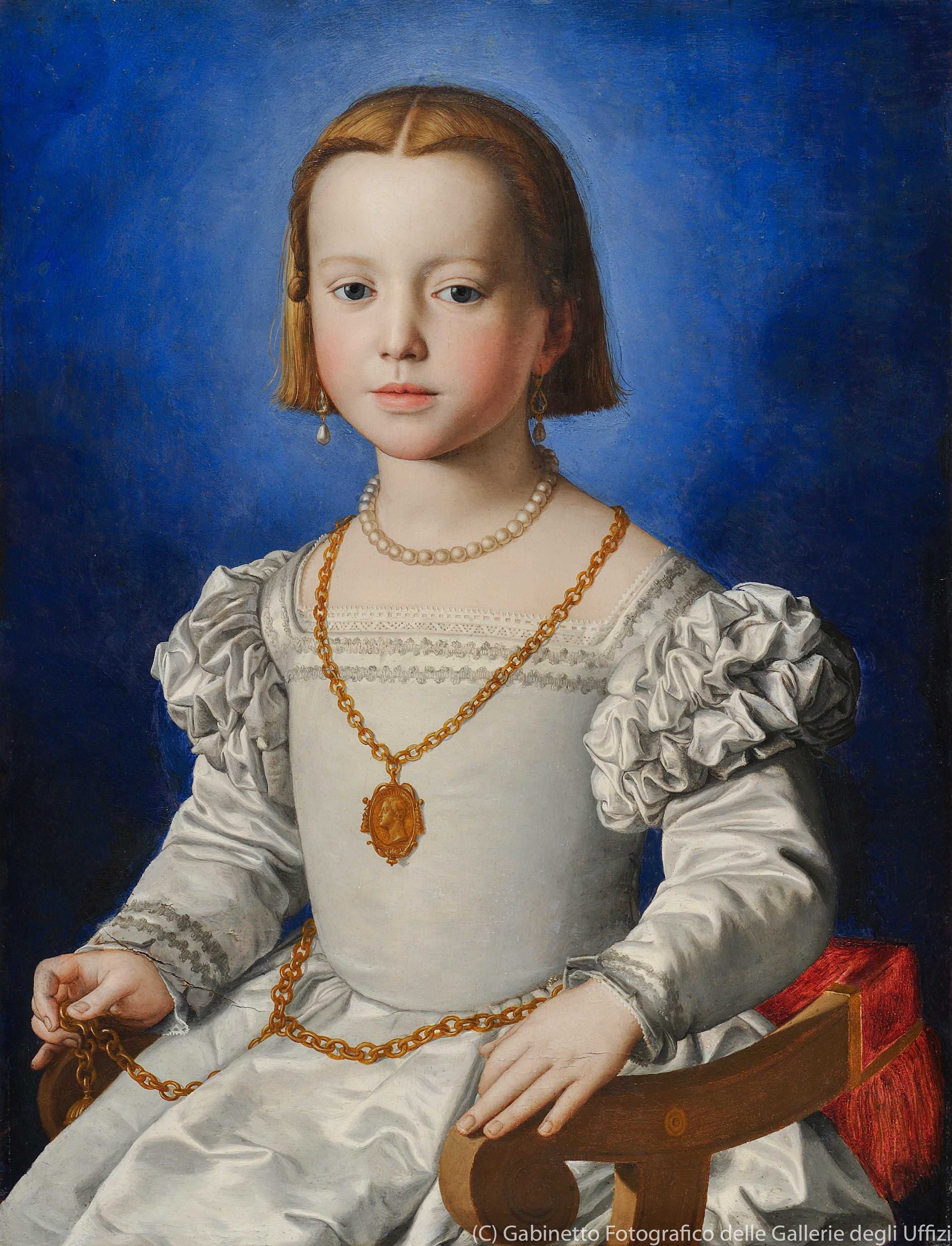 アレッサンドロ・アッローリ派《ビア・デ・メディチの肖像》(1542年頃、ウフィツィ美術館)
