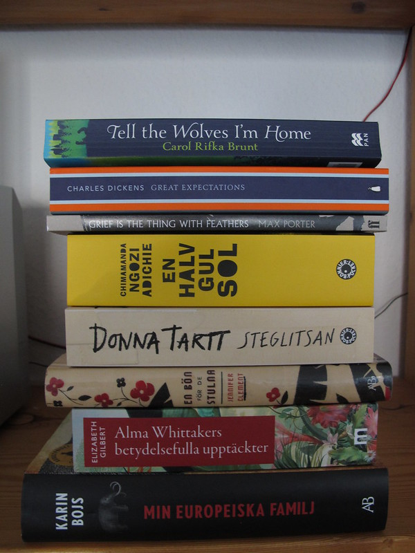 my summer books, books i want to read this summer; min europeiska familj, alma whittakers betydelsefulla upptäckter, en bön för de stulna, steglitsan, en halv gul sol, grief is the thing with feathers, great expectations and tell the wolves i'm home