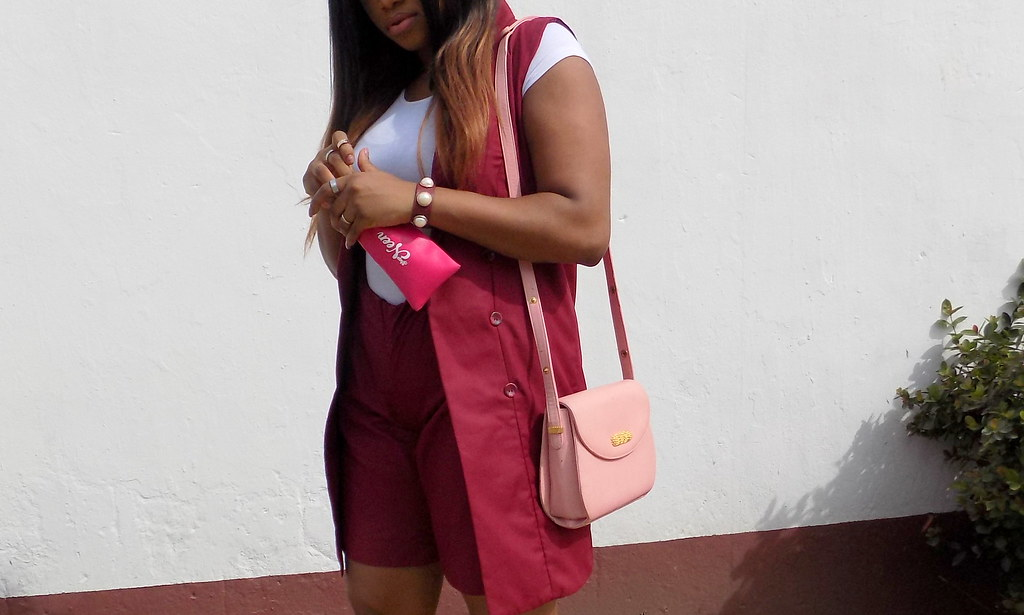 Lagos city chic, Burgundy two piece,