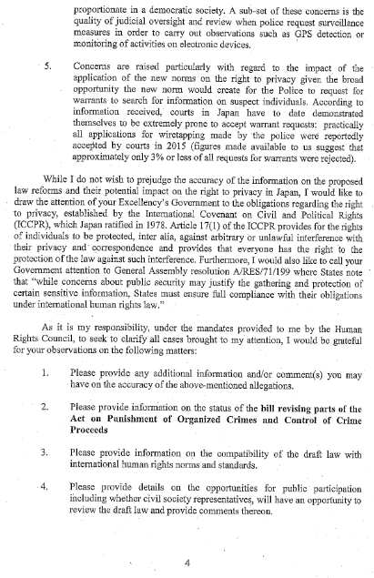 「Mandate of the Special Rapporteur on the right to privacy」(4/5)