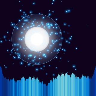 JS_Art_SS_(2017_06_12)_1_Cropped_1 HTML5インタラクティヴ ジェネレーティヴ ディジタル アートのスクリーンショット画像。 黒い背景の上に1つの光の円盤がある。 光の円盤からは 眩しく光り輝く青色の粒子が多数放出されている。 光の円盤の周囲には青色の光輪がある。 画面の下方には音楽のスペクトラム アナライザーのヴィジュアライザーが描画されており、垂直の青色のバーが多数横方向に並んで伸び縮みしている。 青色のバーは明るさと再度と色相に微妙なグラデーションが掛かっている。