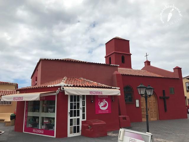 wakacje 2017, Teneryfa, Adeje, kościół św. Eugeniusza i sklep z bikini w jednym, Costa Adeje