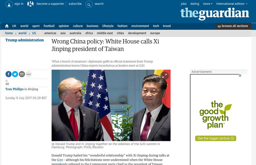 Another Faux Pas from Trump's White House - misidentifying Xi Jinping as President of Taiwan - Alvinology