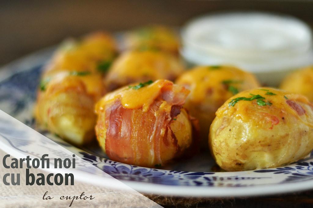 cartofi noi cu bacon la cuptor