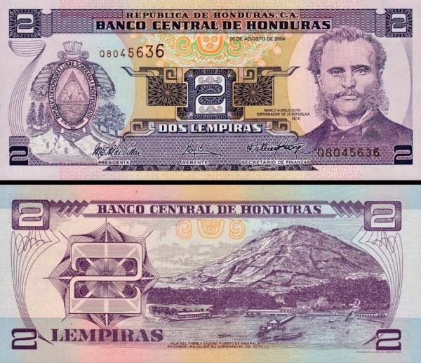 2 Lempiras Honduras 2004, P80Ae