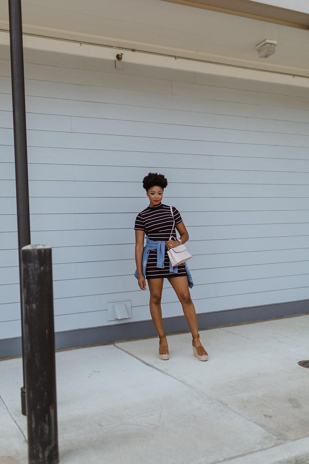 how to wear a striped bodycon dress