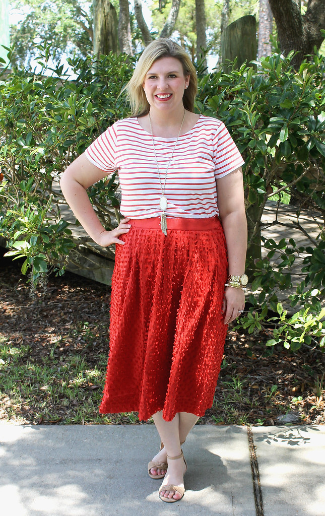 red midi skirt red stripe shirt 5