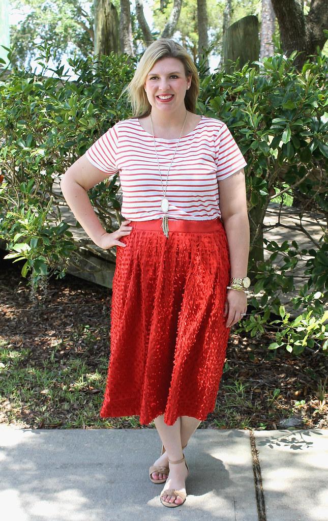 red midi skirt red stripe shirt 5