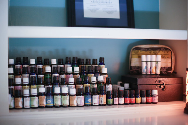 DIY Essential Oil Shelf, that cost pretty much nothing to make. Super easy.