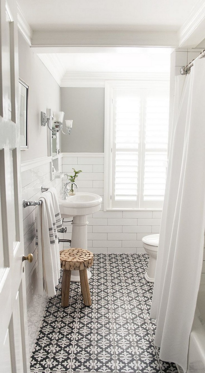 The 15 Best Tiled Bathrooms on Pinterest Bright White and Gray Bathroom Black and White Mosaic Tiled Floor Subway Tiles Bathroom