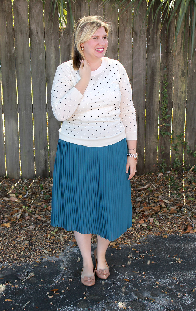 teal midi, polka dot tippi and bow flats 3