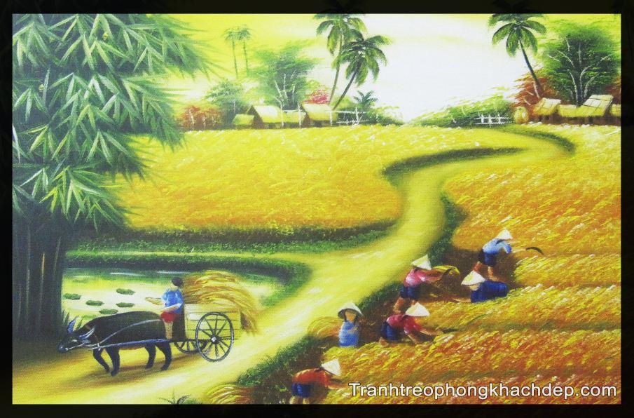 Tranh vai canvas phong canh canh dong lua chin vang hop trang tri nha nghi khach san
