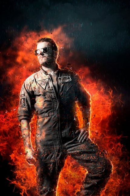 Combat Photoshop action – fire around the object editing