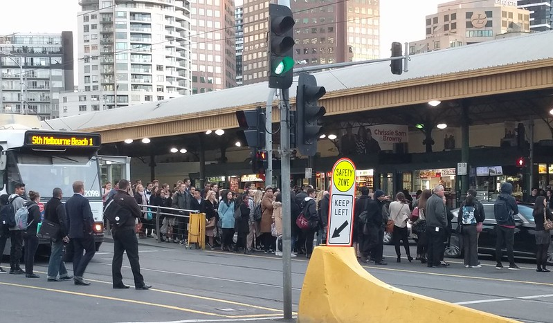 Federation Square tram stop, 5:20pm on a weekday